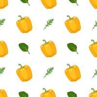 padrão sem emenda com pimentão amarelo, rúcula e manjericão vetor