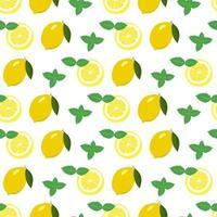 padrão sem emenda com limão e rodelas e folhas de hortelã vetor