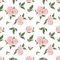 delicado padrão sem emenda com flores peônias vetor