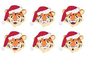 símbolo do tigre de ano novo com emoções. símbolo do feriado no boné de natal vetor
