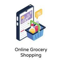 compras de supermercado online vetor