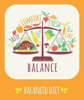 Ilustração em vetor de dieta equilibrada.
