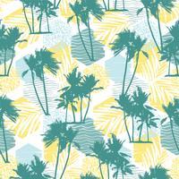 Sem costura padrão exótico com palmeiras tropicais e fundo geométrico. vetor