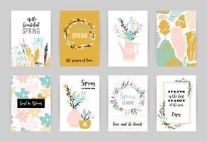 Conjunto de cartões artísticos criativos da primavera. vetor