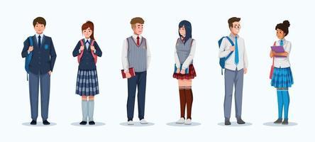 conceito de personagem de alunos do ensino médio com coleção de uniformes vetor
