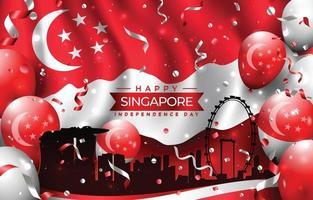 feliz dia da independência de Singapura com a silhueta da cidade vetor