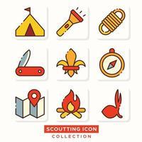 pacote de ícones de atividades de escoteiros indonésio chamado pramuka vetor