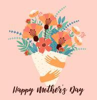 Feliz Dia das Mães. Modelo de vetor com flores.