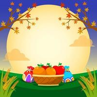 cesta de laranja e maçã sob a noite de lua cheia vetor