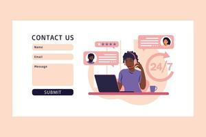 conceito de serviço ao cliente. contacte-nos através do formulário web. vetor