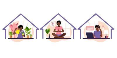 fique em casa. garota cuida de plantas de casa, trabalha no laptop, fazendo ioga. vetor
