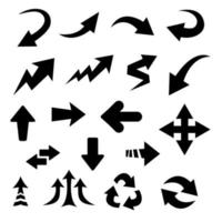 setas curvas pretas. estilo de desenho plano desenhado. conjunto de vetores
