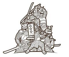 esboço samurai guerreiro com armas ronin japonês lutador vetor