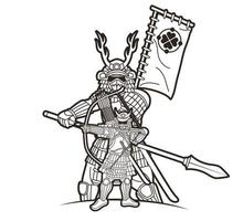 guerreiro samurai com armas ronin japonês lutador vetor