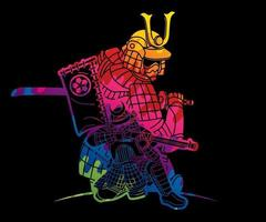 guerreiro samurai abstrato com armas grupo de lutador japonês ronin vetor