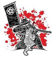 guerreiro samurai com armas lutador japonês vetor