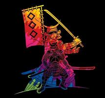 guerreiro samurai graffiti com grupo de armas do lutador ronin japonês vetor