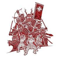 guerreiro samurai com armas grupo de lutador japonês ronin vetor