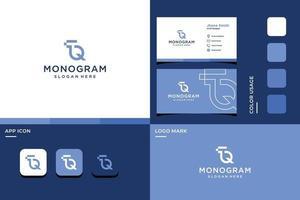 logotipo do monograma das letras t e q vetor