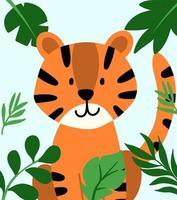 mão desenhada vetor tigre no quadro de folhas tropicais. ilustração fofa