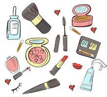conjunto desenhado à mão de cosméticos vetoriais. ilustração do doodle vetor