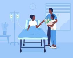 apoio familiar durante a hospitalização ilustração vetorial de cores planas vetor