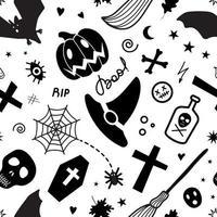 assustador padrão de fundo sem costura de halloween vetor