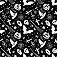 itens assustadores de halloween isolados em um fundo preto formando um padrão vetor