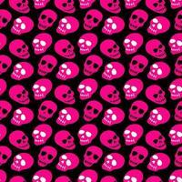 o padrão do crânio. caveiras rosa em um fundo preto. vetor