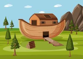 a arca de Noé pousou nas montanhas de Ararat vetor
