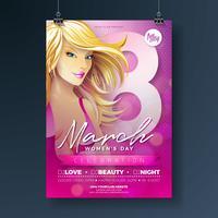 """Ilustração do folheto do partido do dia das mulheres com a menina """"sexy"""" de Blondie e tipografia do 8 de março no fundo cor-de-rosa. Design de férias feminino internacional"""
