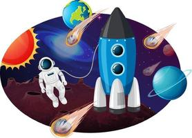 foguete com muitos planetas e asteróides vetor