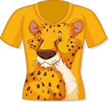 frente da camiseta com estampa de leopardo vetor