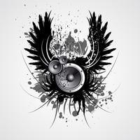 ilustração de música de vetor com asa e borrão