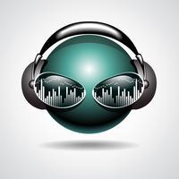 ilustração de música com fone de ouvido na cabeça de bola