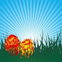 Vector a ilustração de Páscoa com ovos pintados