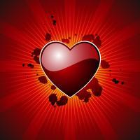 ilustração do dia dos namorados com lareira linda em fundo vermelho