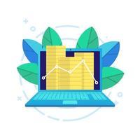 laptop moderno e um gráfico de linha com moedas. vetor