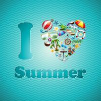 Conjunto de design de férias de amor coração verão