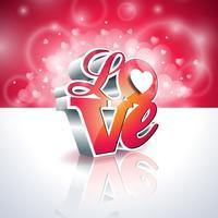 Ilustração de dia dos namorados com design de tipografia de amor 3d