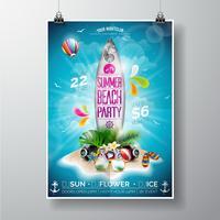 Design de panfleto de festa de praia verão com prancha de surf e ilha paradisíaca vetor