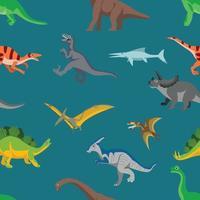 ilustração em vetor dinossauros padrão sem emenda