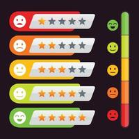 estrelas de avaliação elementos de design feedback do cliente com emoticon vetor