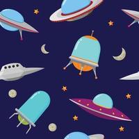 ilustração em vetor ufo padrão sem emenda