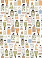 padrão de repetição sem costura com cosméticos. um conjunto de garrafas e tubos vetor
