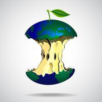 Ilustração do mundo no estilo da apple vetor
