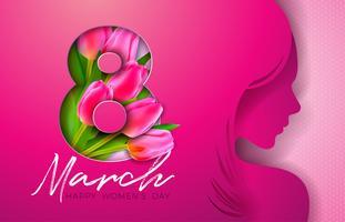 8 de março. Design de cartão de saudação de dia das mulheres com silhueta de mulher jovem vetor