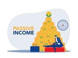 empresário ganha dinheiro na frente de um caderno com fundo de dinheiro vetor