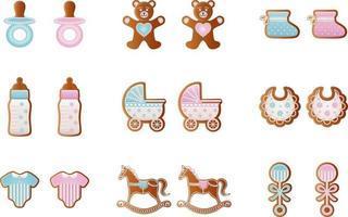 Biscoitos de gengibre para chá de bebê para menino e menina vetor