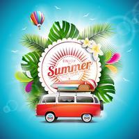 Aproveite a ilustração tipográfica de férias de verão
